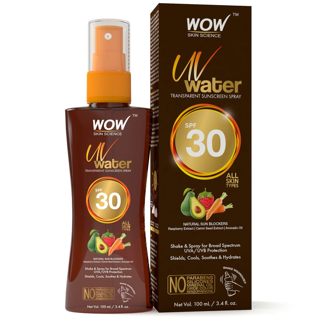 WOW Skin Science UV Water Transparent Sunscreen Spray SPF 30 - Quick Absorbing - Oil Free - Non Sticky - with Raspberry Extract, Carrot Seed Extract, Avocado Oil - No Parabens, Silicones, Mineral Oil, Oxide, Color & Benzophenone - 100mL - BuyWow