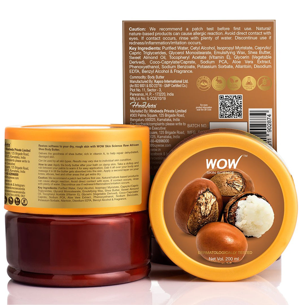WOW Skin Science Raw African Shea Body Butter - No Parabens, Silicones, Mineral Oil & Color - 200mL - BuyWow