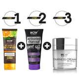 WOW Skin Science Lightening & Brightening Kit - Vitamin C Face Wash + Fairness Cream + Charcoal Peel Off Mask - BuyWow