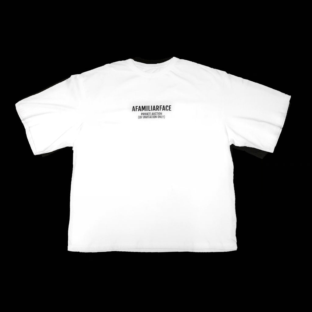 SOLD - AFAMILIARFACE PRIVATE AUCTION OVERSIZED T-SHIRT (White)