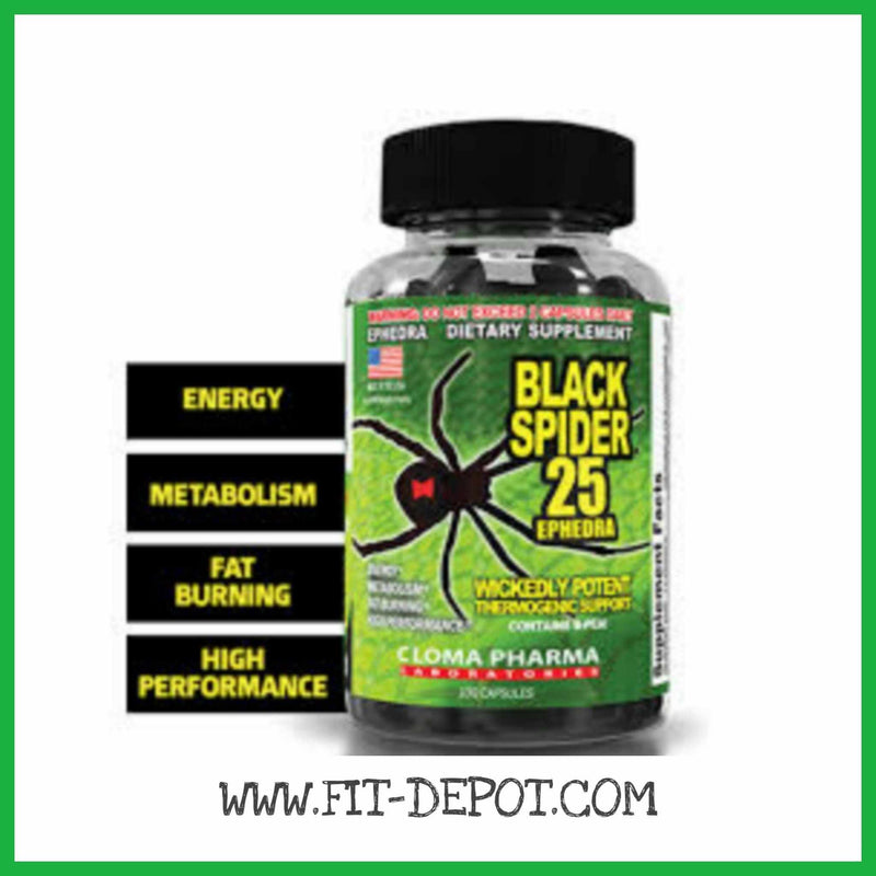 BLACK SPIDER Quemagrasa High performance 25 mg de Ephedra -