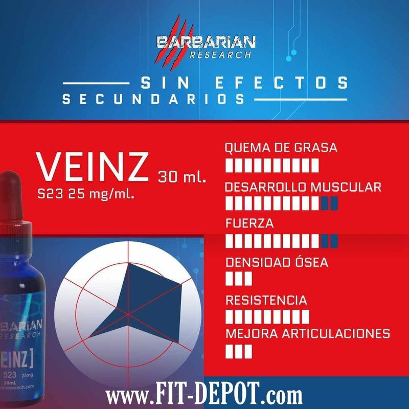 VEINZ (Ultrabolic S-23) 25MG/ML - 30ML  | SARMS BARBARIAN RESEARCH - FIT Depot de México