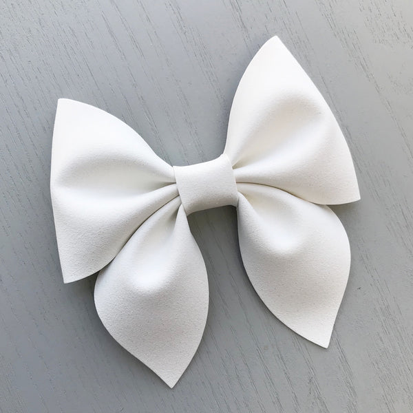 Large Everly Bow Clip -  White Shimmer Suede