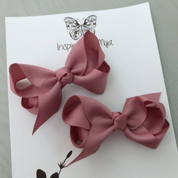 Boutique Bow Piggy Pair - Dusty Rose