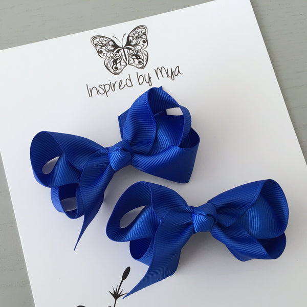 Boutique Bow Piggy Pair - Royal Blue