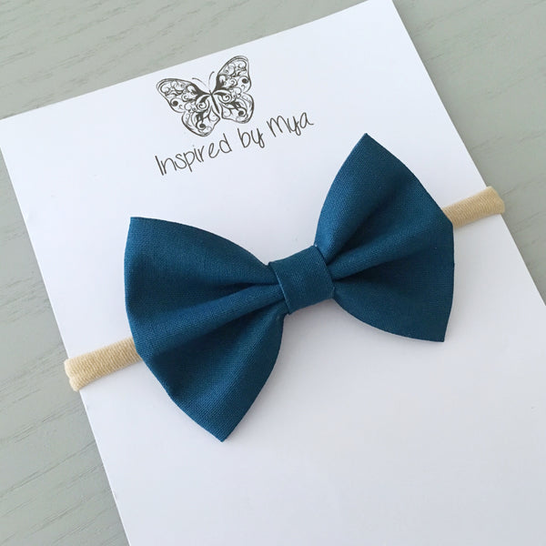 Layla Fabric Bow - Dark Teal