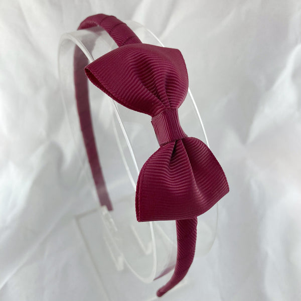 Solid Headband & Bow - Maroon