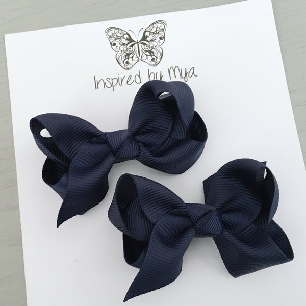 Boutique Bow Piggy Pair - Navy