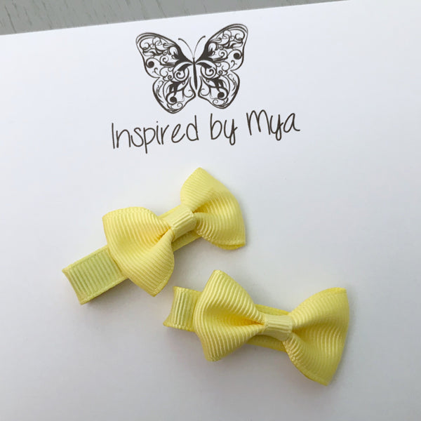 Tiny Bow Clip Piggy Pair - Yellow