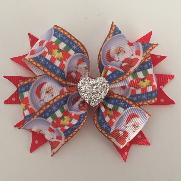 Santa Layered Ribbon Bow
