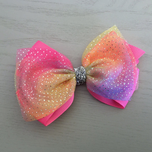 Boutique Ribbon & Tulle Bow Clip - Hot Pink