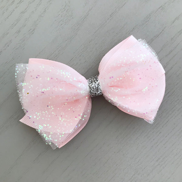Boutique Ribbon & Tulle Bow Clip - Baby Pink Sparkles