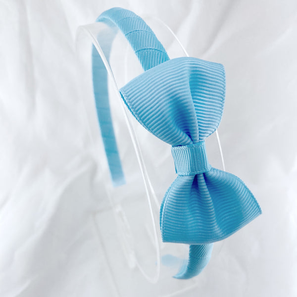 Solid Headband & Bow - Light Blue