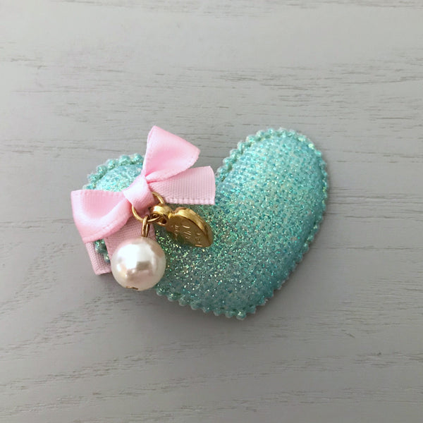 Glitter Heart Alligator Clip