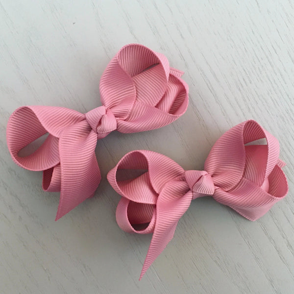 Boutique Bow Piggy Pair - Dusty Pink