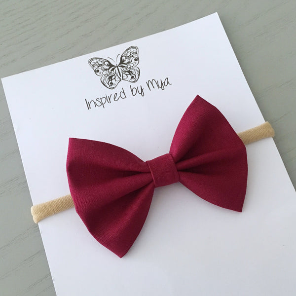 Layla Fabric Bow - Maroon
