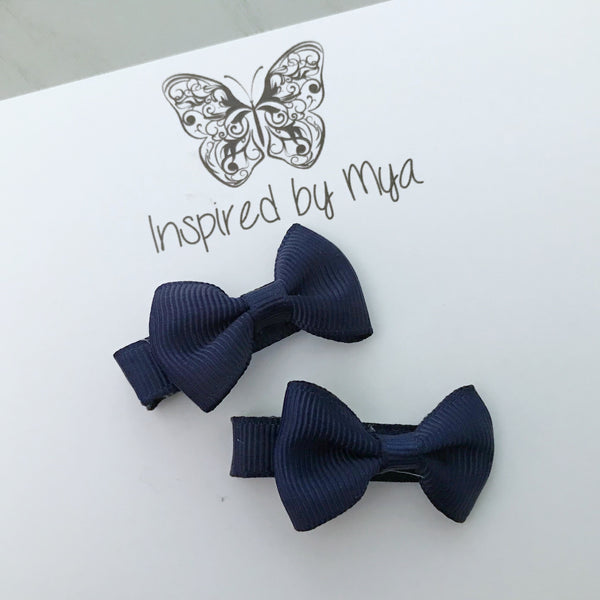 Tiny Bow Clip Piggy Pair - Navy Blue