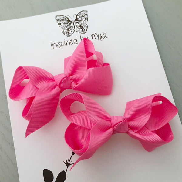 Boutique Bow Piggy Pair - Bright Pink