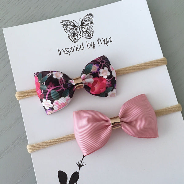 Ribbon Bow Set (Headband Only) -  Black & Dusty Pink Floral