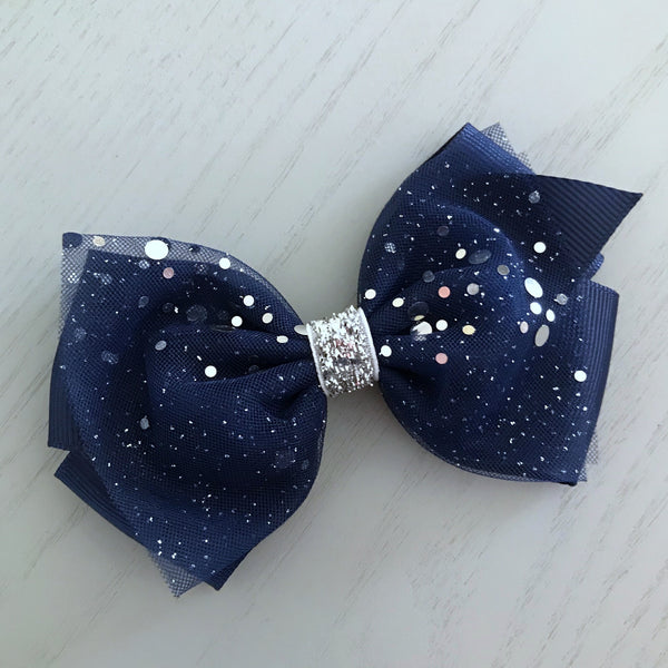 Boutique Ribbon & Tulle Bow Clip - Navy Blue Sparkles