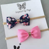 Ribbon Bow Set (Headband Only) - Navy & Pink Floral
