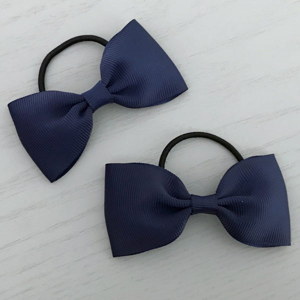 Elastic Bow Piggy Pair - Navy Blue