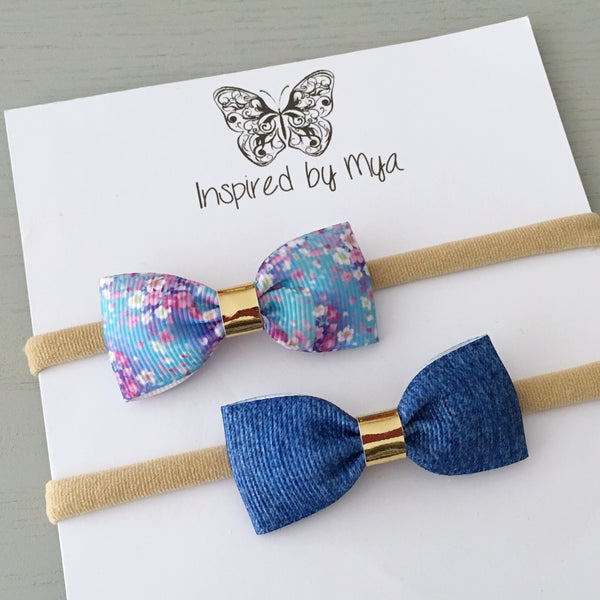Ribbon Bow Set (headband only) - Blue Floral