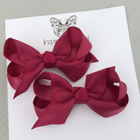 Boutique Bow Piggy Pair - Maroon