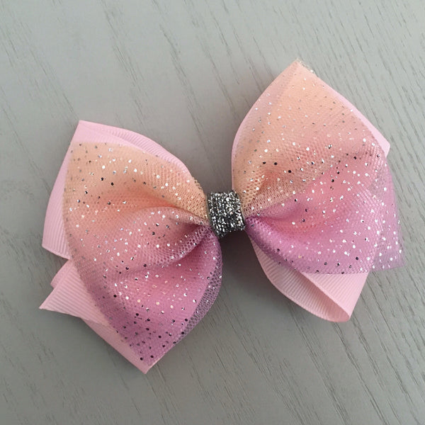 Boutique Ribbon & Tulle Bow Clip - Pink
