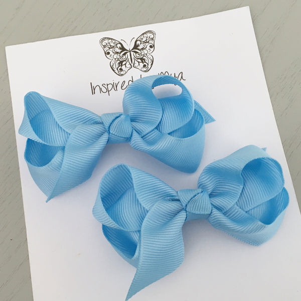 Boutique Bow Piggy Pair - Light Blue
