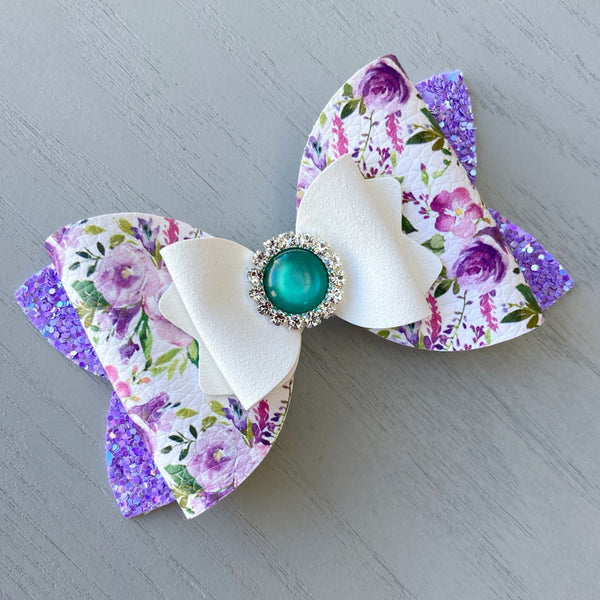 Large Charlotte Bow - Purple Floral