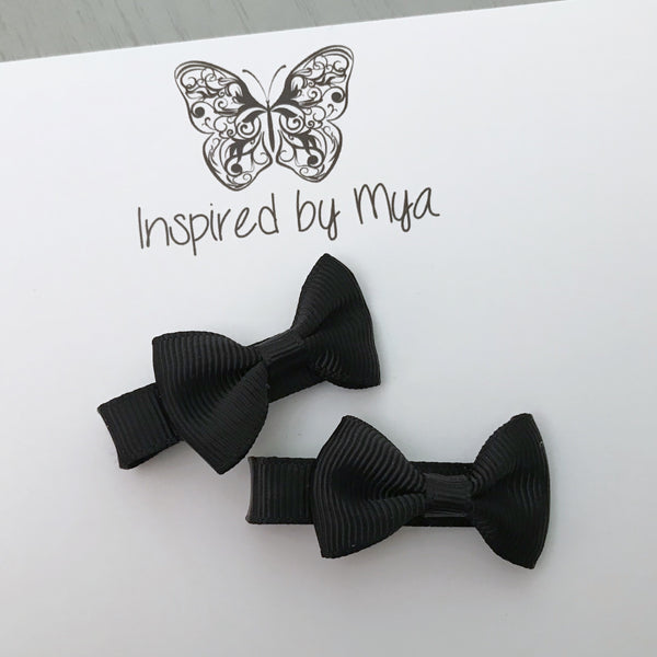 Tiny Bow Clip Piggy Pair - Black