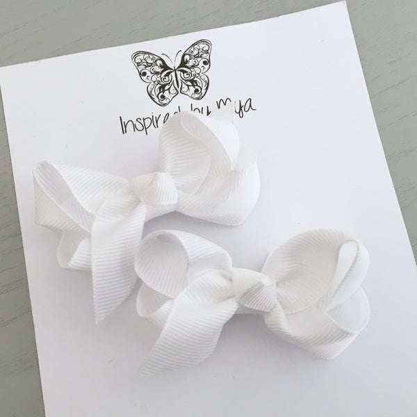 Boutique Bow Piggy Pair - White
