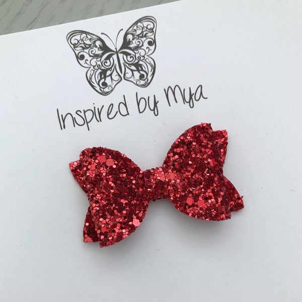 Small Pippa Bow - Red Glitter
