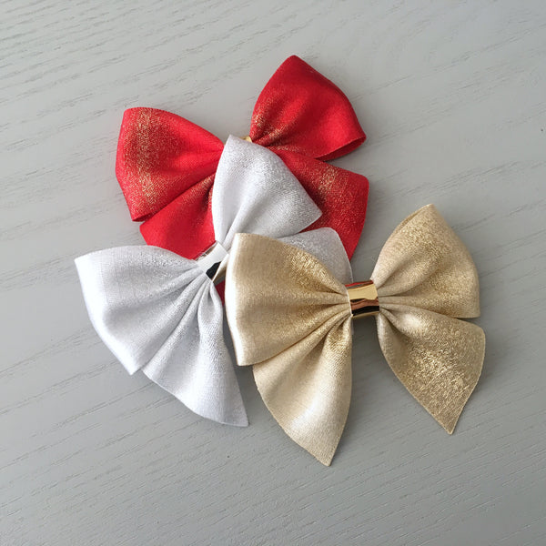 Christmas Sailor Bow Clip