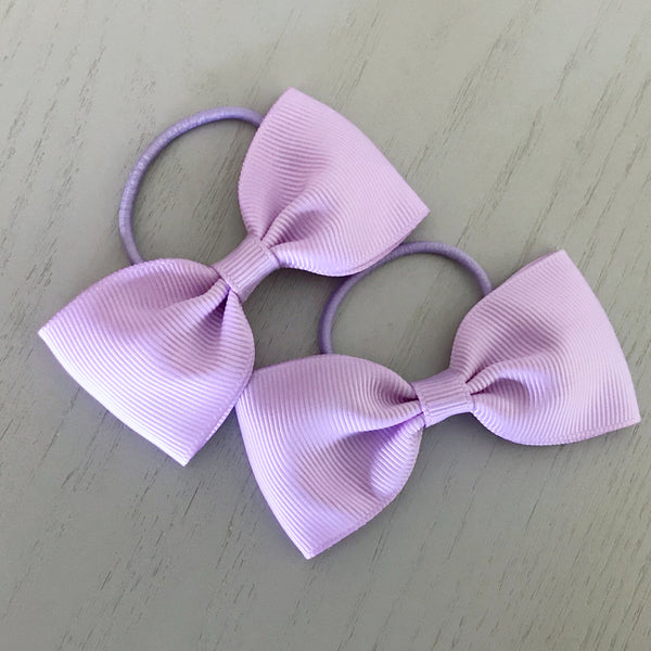 Elastic Bow Piggy Pair - Light Purple