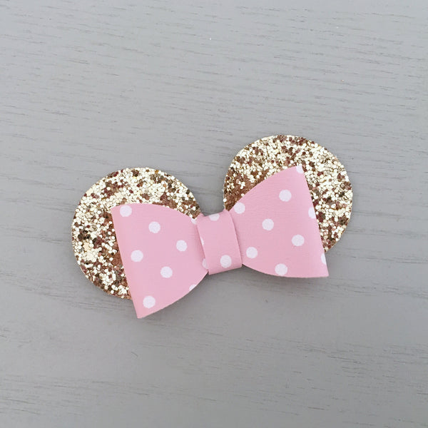 Mouse Bow - Baby Pink Gold & White