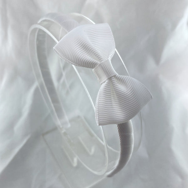 Solid Headband & Bow - White