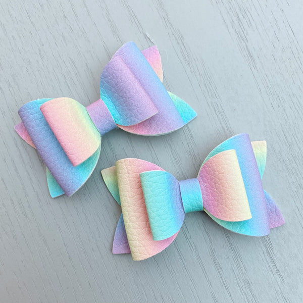 Small Pippa Piggy Clip Pair - Rainbow