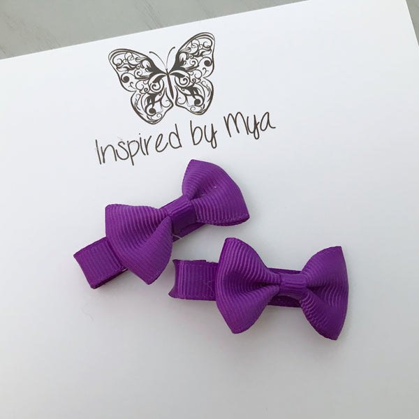 Tiny Bow Clip Piggy Pair - Dark Purple