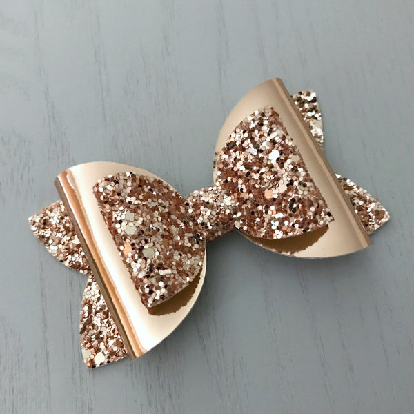 Large Charlotte Bow - Rose Gold Bling