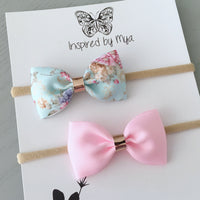 Ribbon Bow Set (Headband Only) - Mint & Pink Floral