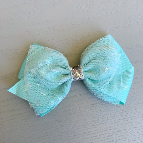 Ribbon & Tulle Bow Clip - Mint Sparkles