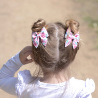 Small Everly Bow Clip - Pastel Blue Shimmer Suede