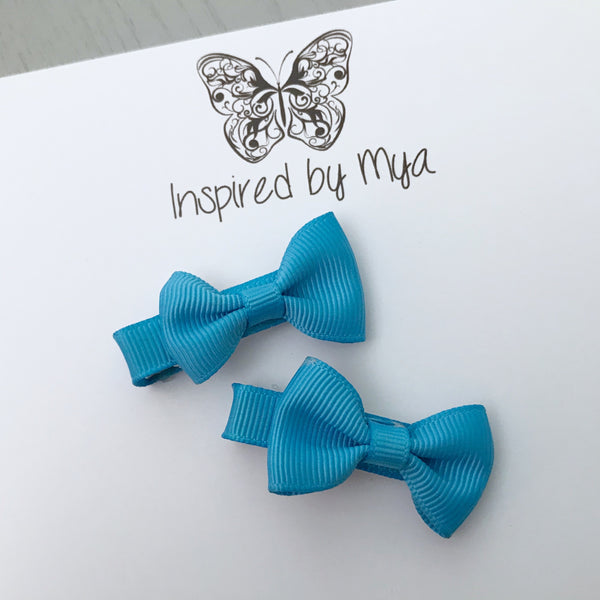 Tiny Bow Clip Piggy Pair - Blue
