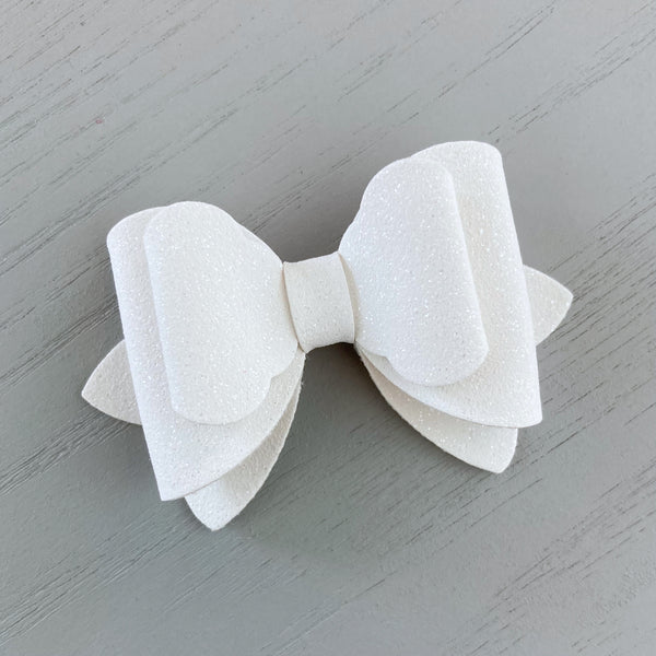 Small Luna Bow - White Shimmer Suede