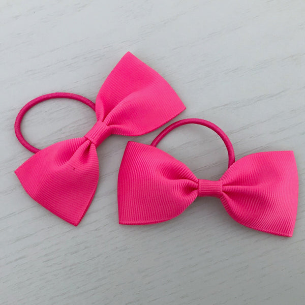 Elastic Bow Piggy Pair - Hot Pink