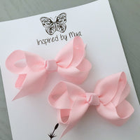 Boutique Bow Piggy Pair - Pastel Pink