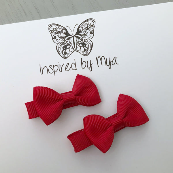 Tiny Bow Clip Piggy Pair - Red