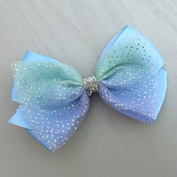 Boutique Ribbon & Tulle Bow Clip - Light Blue